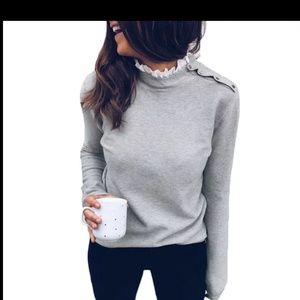 Autumn Fashion Knitted Top Laceneck Button Blouse